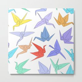 Japanese Origami paper cranes symbol of happiness, luck and longevity Metal Print