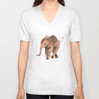 low poly V-neck T-shirts featuring Low Poly Elephant by The animals moved to - society6.com/dian