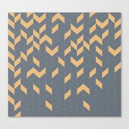 Grey and Mustard Herringbone Canvas Print