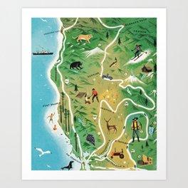 Northern California Map Vintage Handrawn illustration Art Print