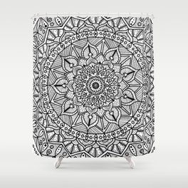 Circle of Life Mandala Black and White Shower Curtain