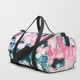 Inside out | Navy blue pastel pink abstract original acrylic painting Duffle Bag