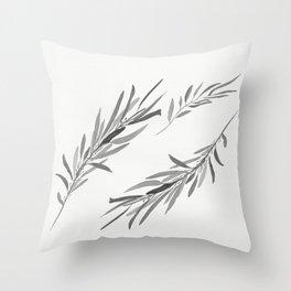 Eucalyptus leaves black and white Throw Pillow