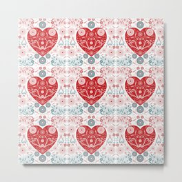 Flowers and Hearts Love Metal Print