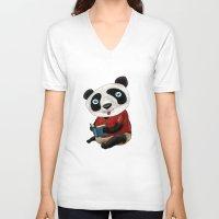 panda V-neck T-shirts featuring Panda by gunberk