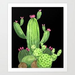 Flowering Cactus Bunch on Black Art Print