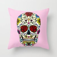 sugar skull Throw Pillows featuring Sugar Skull by Jade Boylan