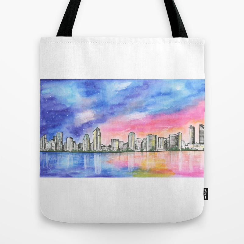 San Diego Skyline - San Diego - San Diego, Califor… Tote Bag by Junepoppiesdesigns TBG8556050