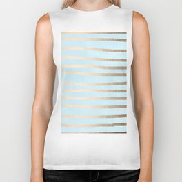 Abstract Drawn Stripes Gold Tropical Ocean Sea Turquoise Biker Tank
