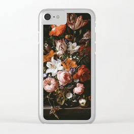Rachel Ruysch - Flowers In A Glass Vase Clear iPhone Case