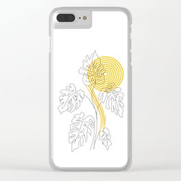Monstera line Art Clear iPhone Case