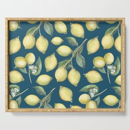 Lemon Fresh Blue Serving Tray