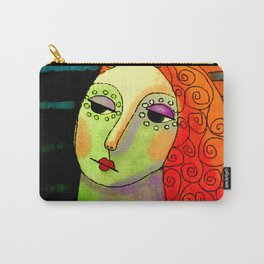 Woman with Curly Red Hair Abstract Digital Portrait Carry-All Pouch