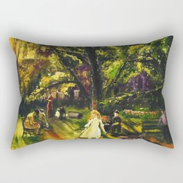 Sunday in Gramercy Park, NYC landscape painting by George Wesley Bellows Rectangular Pillow