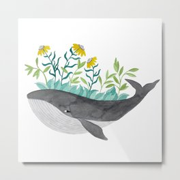 whale with mustard flowers watercolor Metal Print