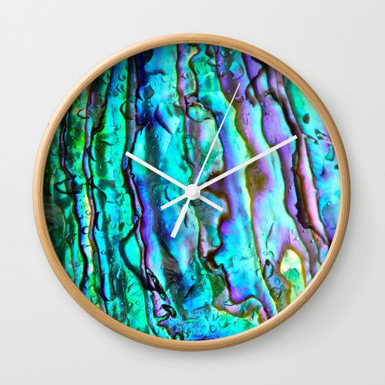 Glowing Aqua Abalone Shell Mother of Pearl Wall Clock