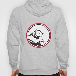 California Grizzly Bear Swipe Paw Circle Retro Hoody
