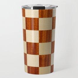 Checkered brown texture Travel Mug