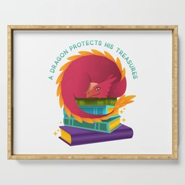 A Dragon Protects His Treasures (books) Serving Tray