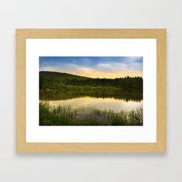 Aqua Sunset Landscape Framed Art Print