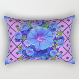 Grey-Lilac Pattern Blue Morning Glories Art Rectangular Pillow