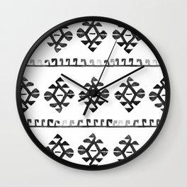 Black and White Bohemian Tribal Ethnic Kilim Pattern Wall Clock