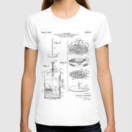 Coffee Filter Patent - Coffee Shop Art - Black And White T-shirt