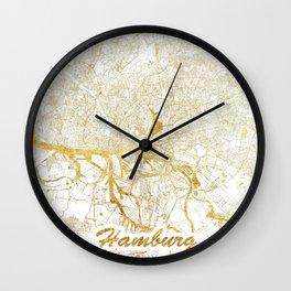 Hamburg Map Gold Wall Clock