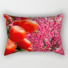 Orange Clementines and Pink Trees Rectangular Pillow
