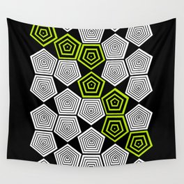 Colour Pop Pentagons - Lime Green Wall Tapestry