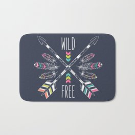"""Ethnic frame made of feathers, threads and beads with text """"Wild and Free"""". Freedom concept. Bath Mat"""