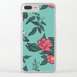 Camellia & Jasmine on turquoise Clear iPhone Case