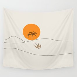 Desert Heat and Palm Wall Tapestry