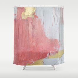 Melody: a pretty minimal abstract painting in gold pink and white by Alyssa Hamilton Art Shower Curtain