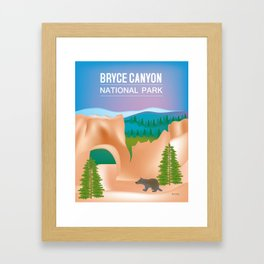 Bryce Canyon National Park, Utah - Skyline Illustration by Loose Petals Framed Art Print