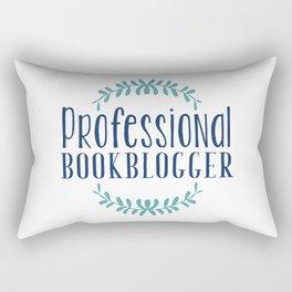 Professional Bookblogger - White w Blue Rectangular Pillow
