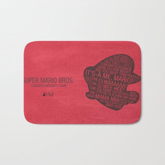 Super Mario Typography Bath Mat