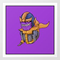 thanos Art Prints featuring Thanos Whale by CoolBreezDesigns