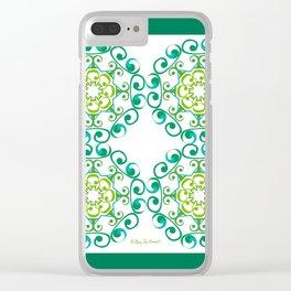 Grace Mandala Tiled - Green White Clear iPhone Case