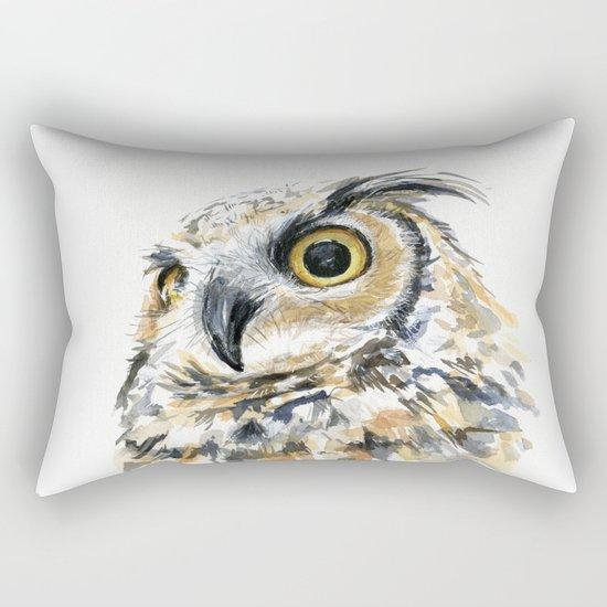 Owl Great Horned Bird of Prey Owls Animals Bird Wildlife Rectangular Pillow