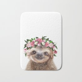 Baby Sloth With Flower Crown, Baby Animals Art Print By Synplus Bath Mat