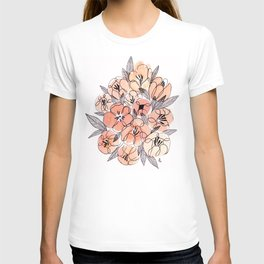 Pink Inky Floral - Watercolor Flowers - Ink T-shirt