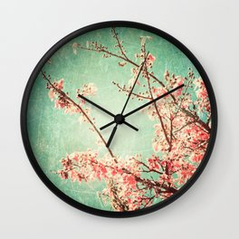 Pink Autumn Leafs on Blue Textured Sky (Vintage Nature Photography) Wall Clock