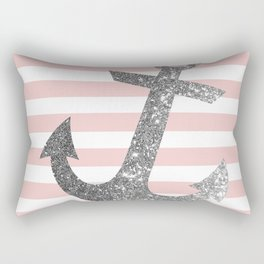 Silver Glitter Anchor in pink and white Rectangular Pillow