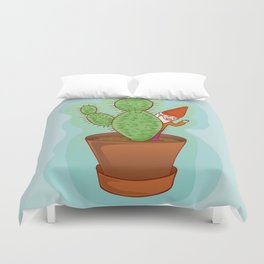 fairytale dwarf with cactus Duvet Cover