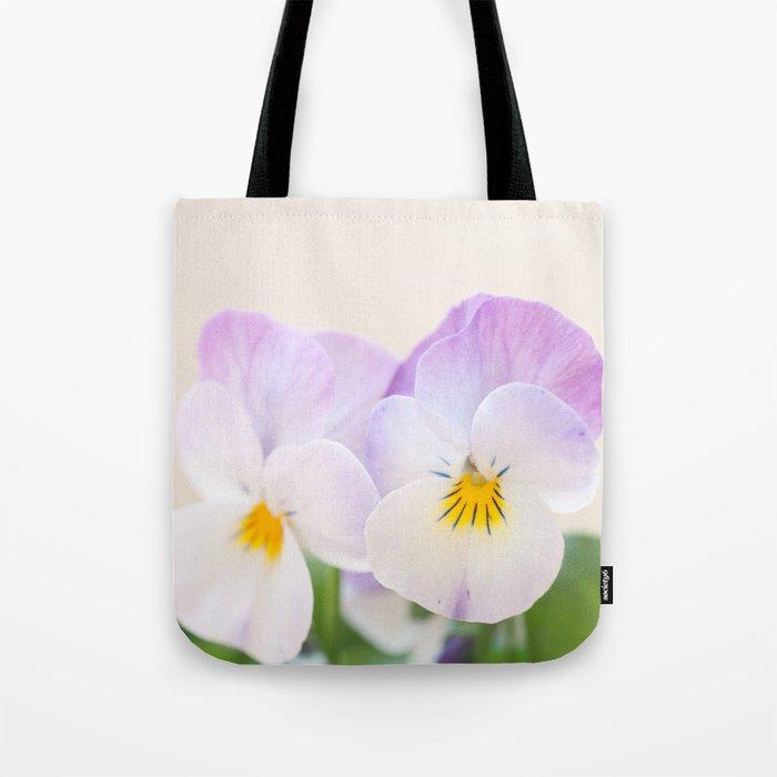 Spring Love #1 - Soft violet-white Pansies #decor #art #society6 Tote Bag