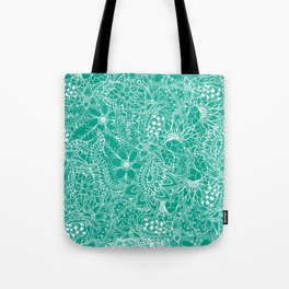 Modern trendy white floral lace hand drawn pattern on emerald green Tote Bag