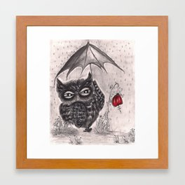 Owl in a Rainstorm Framed Art Print