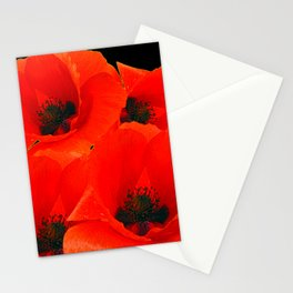 RED-ORANGE ORIENTAL POPPIES GRAPHIC ART Stationery Cards
