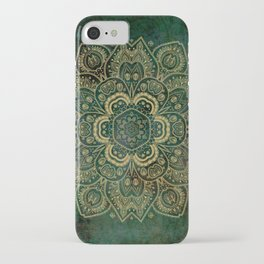 Golden Flower Mandala on Dark Green iPhone Case